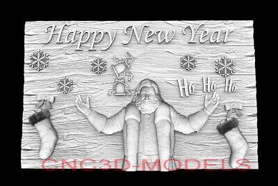 3d Model Stl For Cnc Router Artcam Aspire Happy New Year Santa Claus D762