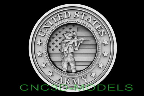 3D STL Models for CNC Router Carving Artcam Aspire USA Soldier Army D658