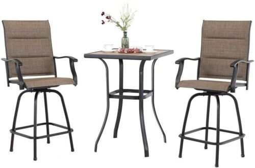 3Pcs Outdoor Patio Bar Table Chair Set Swivel Bar Stools High Bistro Chair Table