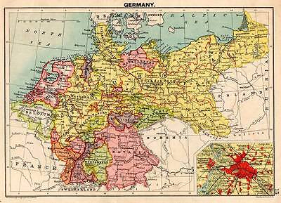 Germany c 1898 Original Victorian Colour Map Bartholomew