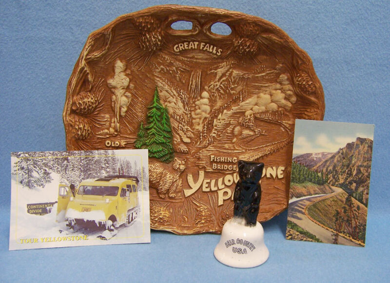 Vintage Montana Yellowstone Souvenir Lot of Tray, Bell and 2 Postcards