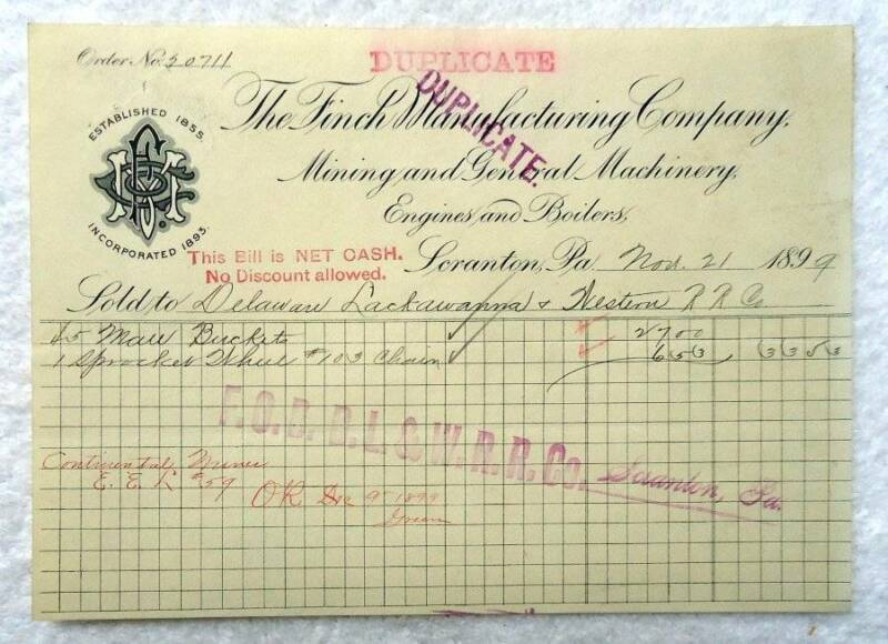 1899 ILLUSTRATED BILLHEAD FINCH MANUFACTURING CO MINING EQUIPMENT PA #B5J