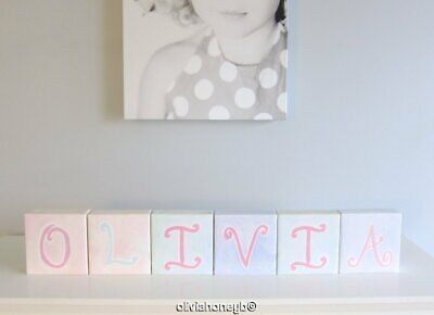 Pottery Barn Kids CANVAS NAME WALL ART PASTEL LETTER BLOCKS Set of 6 OLIVIA 5x5