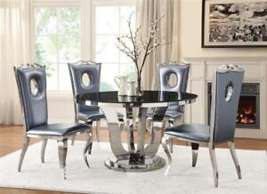 Coaster 107881 Blasio Glam Five Piece Dining Set With Round Table And Faux Leather Chairs