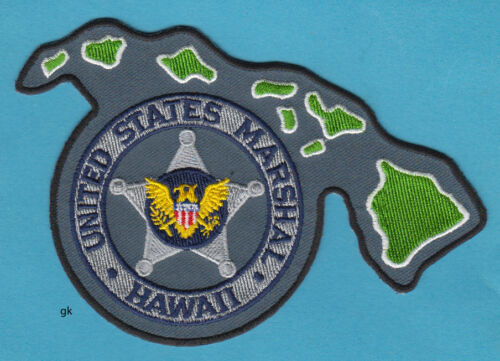 HAWAII US MARSHAL  STATE SHAPE  POLICE SHOULDER PATCH   (Gray)