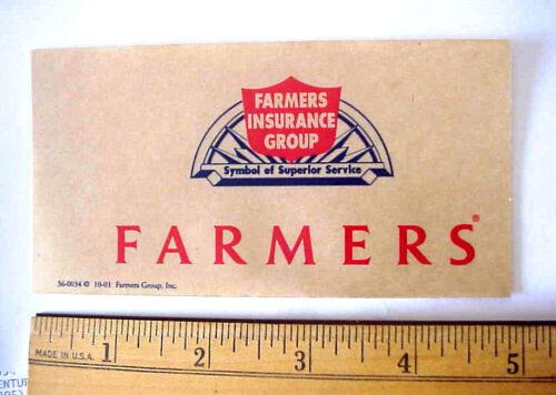 """2001 FARMERS INSURANCE 5"""" x 2 1/2"""" CLEAR CELLOPHANE PEEL-OFF WINDOW STICKER"""