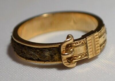 Antique Victorian Mourning 10k Gold & Hair Belt Buckle Engraved Etched Band Ring