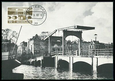 NETHERLANDS MK 1968 BRIDGES BRIDGE BRCKEN BRCKE CARTE MAXIMUM CARD MC CM BE96