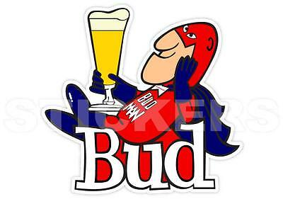 Bud Man Budman Budweiser Beer Vinyl Sticker Decal Retro Vintage