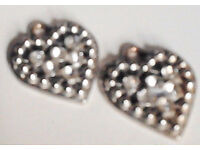 2x20mm Silver Toned Heart Pendants Charms with Diamantes.For shoes, bags, necklaces etc..