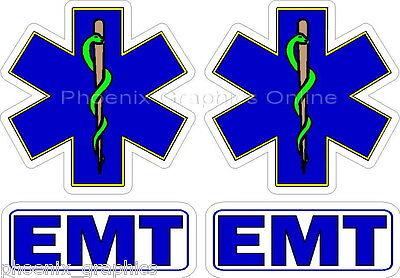 EMT Helmet Decal Set Reflective (2) Fire Dept Rescue Firefighter Decal Sticker