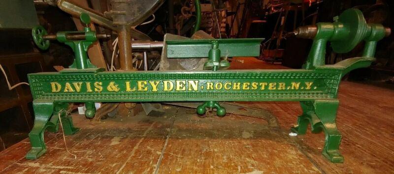 Small, Decorative, Davis & Leyden Antique belt driven Lathe, Rochester New York
