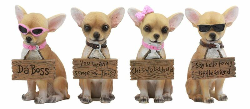 """4.25"""" Height Set of 4 Tea Cup Chihuahua Dog Holding Humorous Signs Figurine Gift"""