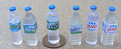 1:12 Scale Six Mixed Bottles Of Water Dolls House Miniature Drink Pub Accessory