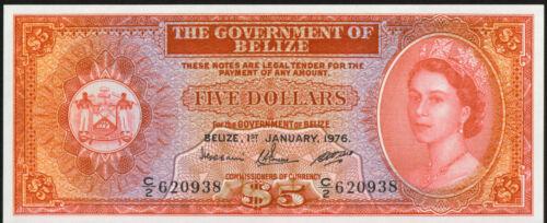 Government of Belize 1976 $5 Five Dollars Queen Elizabeth II GEM UNC P-35B