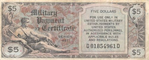 USA / MPC  $5  ND. 1948  Series 481  Plate # 32  Circulated Banknote