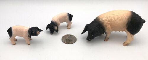 Schleich SWABIAN HALL PIG FAMILY Sow 2 Piglets Hog Farm Figures Retired