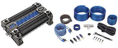 Boss CAP8 8 Farad Car Audio Capacitor With Digital Volt Meter + 4 AWG Amp Kit