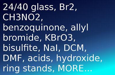 Lot Laboratory Organic Chemicals 2440 Glassware Acid Funnel Rbf Flask Equipment