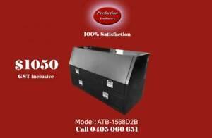 New black powder coated built in 2 drawer tool box 1500x600x850