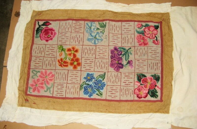 Vintage Hooked Rug With Various Flowers on Original Burlap - AWESOME!