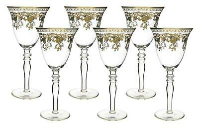 Wine Stem - (D) Crystal Wine Stem Glasses with Gold Floral Decor 6-pc Set, Vintage Style