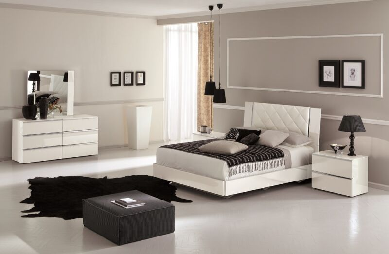 Modern Stella White Eco-Leather & Lacquer Headboard 5Pcs King Size Bedroom Set