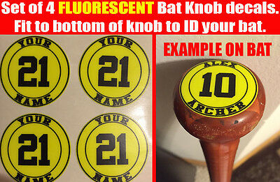 Baseball Fluorescent Yellow Bat Knob Decal Custom bat sticker name decal