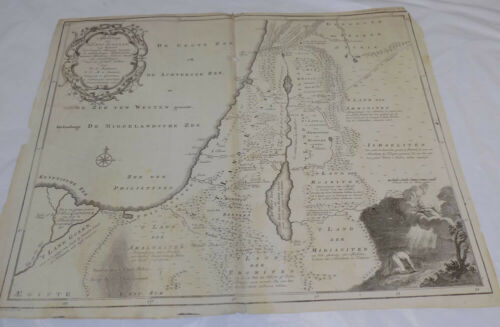 1749 Antique Map/PALESTINE & SURROUNDING LANDS & TRIBES THAT INHABITED THE AREA