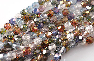 50 Luster Mix Glass Faceted Round Beads 6MM