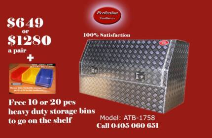 Free bins top quality 170x53x82 aluminium checkerplate toolboxes Everton Hills Brisbane North West Preview