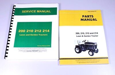 Service Manual For John Deere 200 210 212 214 Lawn Garden Tractor Parts Catalog
