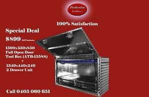 Rectangle Square 1500x550x850 aluminium toolbox + 2 drawer unit Brisbane City Brisbane North West Preview