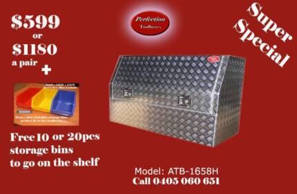 New heavy duty ATB-1658H 3/4 door aluminium checkerplate toolbox Everton Hills Brisbane North West Preview