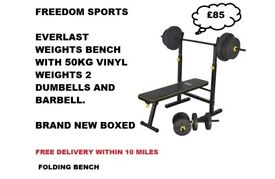 Everlast Folding Bench with 50kg Weights brand new boxed RRP £149.99