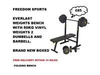 Everlast Folding Bench with 50kg Weights brand new boxed RRP £149.99 2 DAY SPECIAL £70