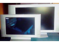 2 Philips Silver 17 Inch and 26 Inch Flat Screen TVs,Stands,Remote Controls,Power Cords.