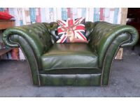 Stunning Chesterfield Large Shaped Club Chair in green Leather - Uk Delivery