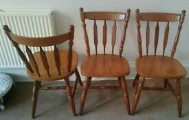 3 x sturdy pine dining chairs