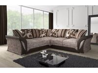 NEW LARGE SHANNON CORNER 5 SEATER BEIGE BROWN FABRIC & FAUX LEATHER SOFA