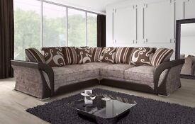 **LIMITED EDITION BROWN/BEIGE SHANNON CORNER OR 3 AND 2 SOFA. ALSO AVAILABLE IN REGULAR BLACK/GREY**