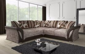 FARROW SHANNON CORNER SOFA or 3 AND 2 SEATER IN LEATHER & CHENILLE FABRIC, in BLACK or BROWN