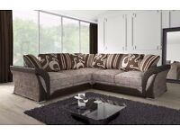 *50% SALE* LEATHER AND FABRIC CORNER SOFA 3+2 SEATERS SOFA AVAILABLE IN GREY/BLACK MINK/BROWN