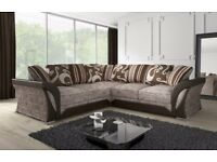 SAME DAY CASH ON DELIVERY! NEW SHANNON CORNER OR 3 AND 2 SOFA SET IN BLACK/GREY OR BROWN/BEIGE