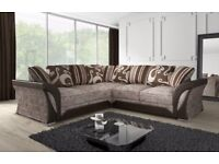 GET IT TODAY-- BRAND NEW SHANNON CORNER or 3+2 SOFA IN LEATHER & FABRIC , in BLACK or BROWN