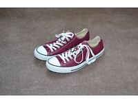 Men's Burgundy Converse All Star Low top Canvas Sneakers/Trainers size 9 RRP £45