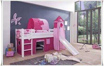 Hochbett Spielbett mit Rutsche und Turm + Matratze + Lattenrollrost  Weiss  PRI