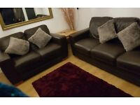 Leather Brown 3 + 2 seater sofa