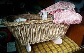 Doll's Wicker Rocking Basket