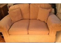 Marks & Spencer gold two seater sofa. Mint condition. 167cm wide x 100cm deep.
